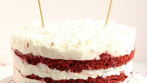 Outstanding Red Velvet Coconut Cake With Coconut Cream Cheese Frosting The Funny Birthday Cards Online Kookostrdamsfinfo
