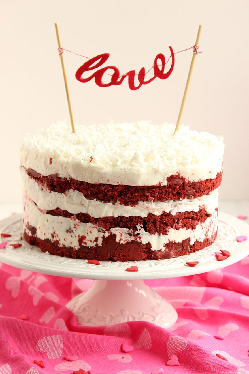 Enjoyable Red Velvet Coconut Cake With Coconut Cream Cheese Frosting The Funny Birthday Cards Online Fluifree Goldxyz
