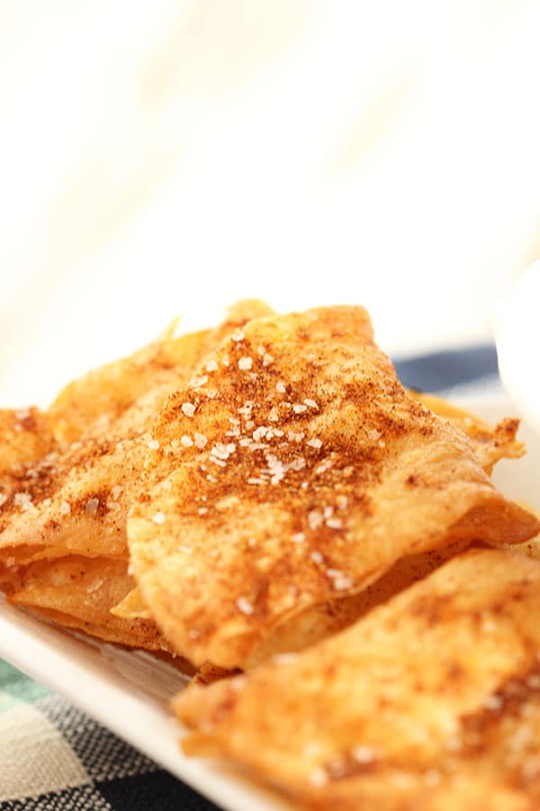 Spicy Cumin Dusted Tortilla Chips | The Suburban Soapbox #tortillachips #cincodemayo