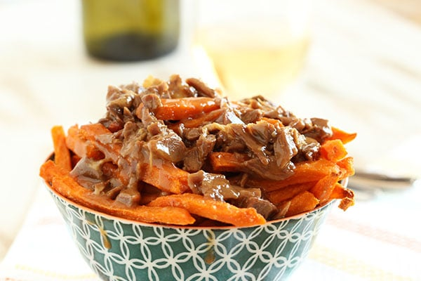 Duck Confit Sweet Potato Fries with Smoked Gouda Cheese Sauce | The Suburban Soapbox #SpringIntoFlavor #cheesefries