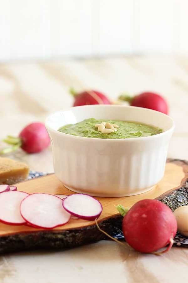 Easy Radish Green Pesto | The Suburban Soapbox #pesto #radish