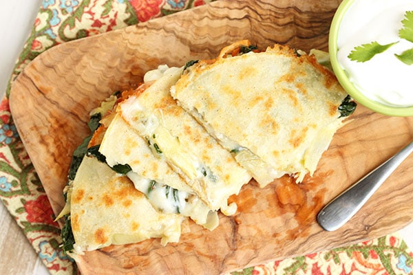 Spinach Artichoke and Chicken Quesadillas | The Suburban Soapbox #weeknightdinner #quesadilla
