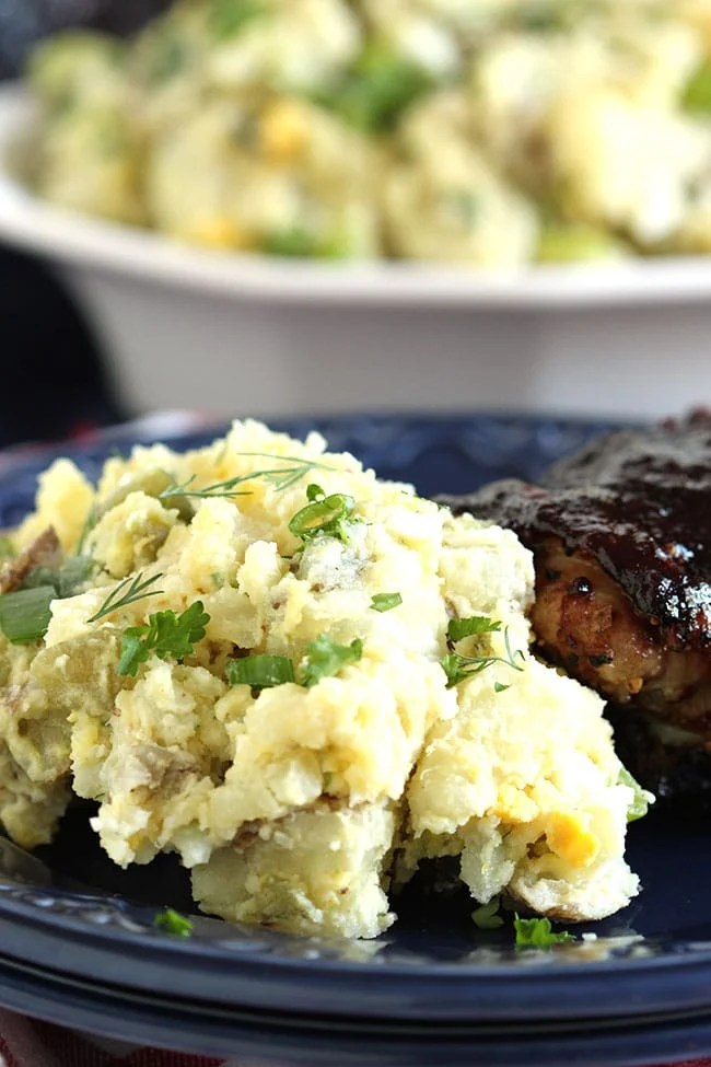 The Best Smashed Potato Salad | The Suburban Soapbox #potatosalad