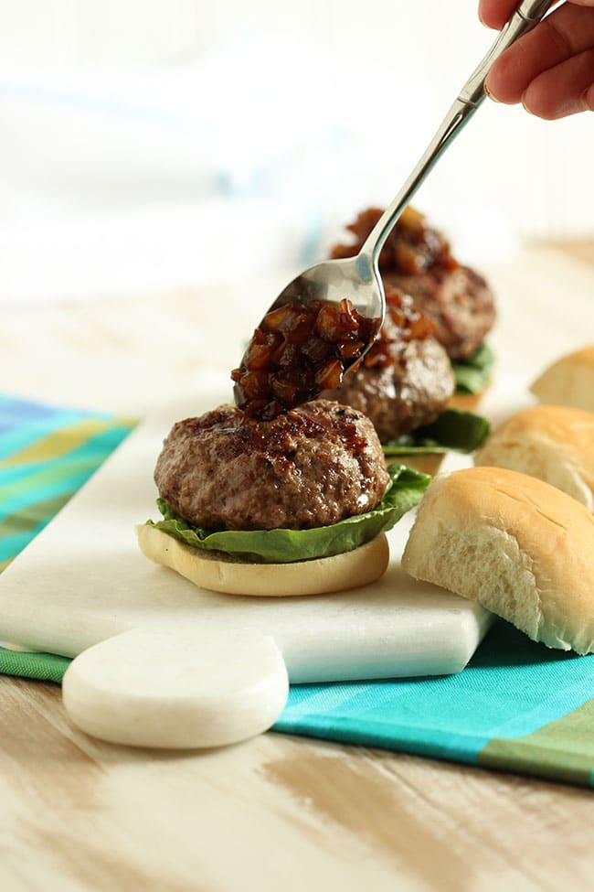 Cheese Stuffed Sliders with Balsamic Onion Jam | The Suburban Soapbox #eatliquidgold #sliders