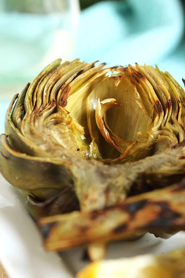 Grilled Artichokes with Garlic Asiago Sauce | The Suburban Soapbox #grilled #artichokes