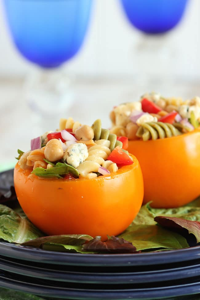 Spinach Blue Cheese and Chickpea Pasta Salad Stuffed Tomatoes | The Suburban Soapbox #RonzoniSummer #pmedia #ad