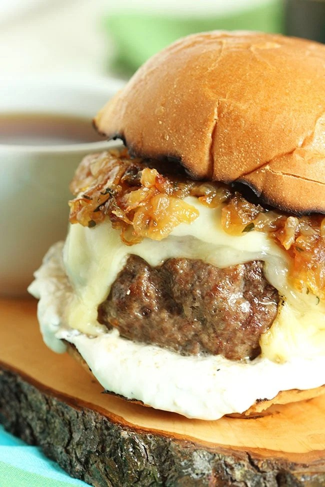French Dip Burger with Havarti, Swiss and Bourbon Fried Onions | The Suburban Soapbox #burger