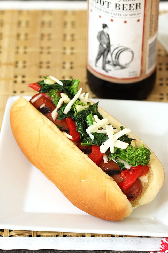 Italian Style Hot Dogs with Broccoli Rabe, Provolone and Roasted Red Peppers | The Suburban Soapbox #greatergrilling #hebrewnational #ad