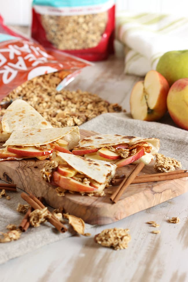 Crunchy Caramel Apple and Brie Quesadilla | The Suburban Soapbox #FueledByGranola