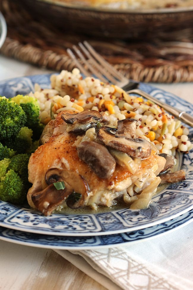 Pan Roasted Chicken Thighs with Creamy Mushroom Tarragon Sauce | The Suburban Soapbox