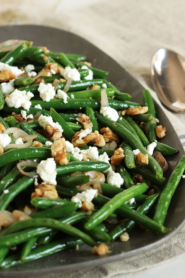 Green Beans with Goat Cheese, Shallots and Walnuts |The Suburban Soapbox #sidedish