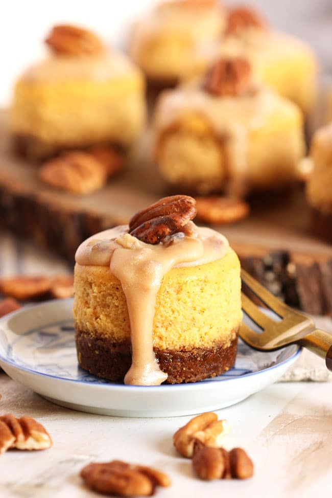 Mini Pumpkin Cheesecake with Bourbon and Pecan Praline topping on a blue and white dish.