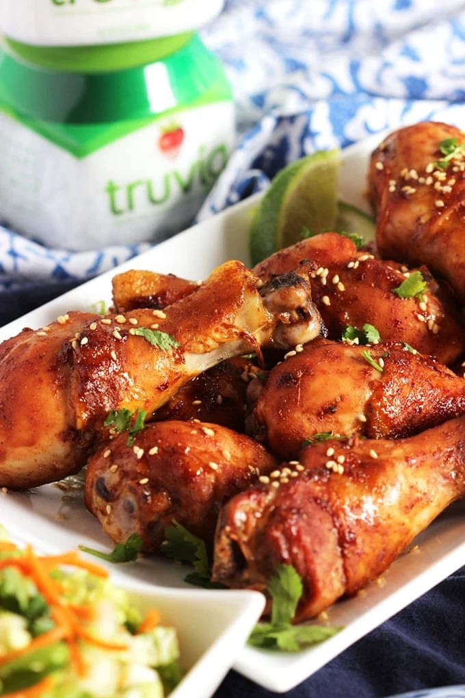 Asian Glazed Chicken Legs with Snow Pea and Carrot Slaw | TheSuburbanSoapbox.com #sweetnewyear