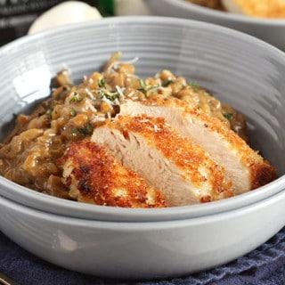 Mushroom Farro Risotto with Parmesan Crusted Chicken | TheSuburbanSoapbox.com #VillageHarvestInspired