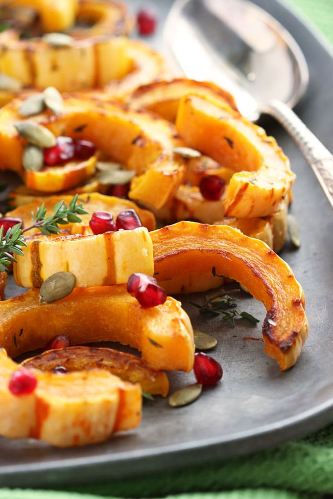 Roasted Delicata Squash with Pomegranate and Pumpkin Seeds | TheSuburbanSoapbox.com