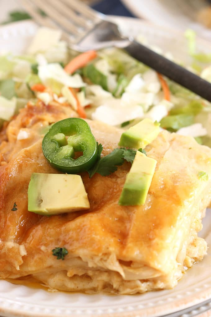 Slow Cooker White Chicken Enchilada Casserole | TheSuburbanSoapbox.com
