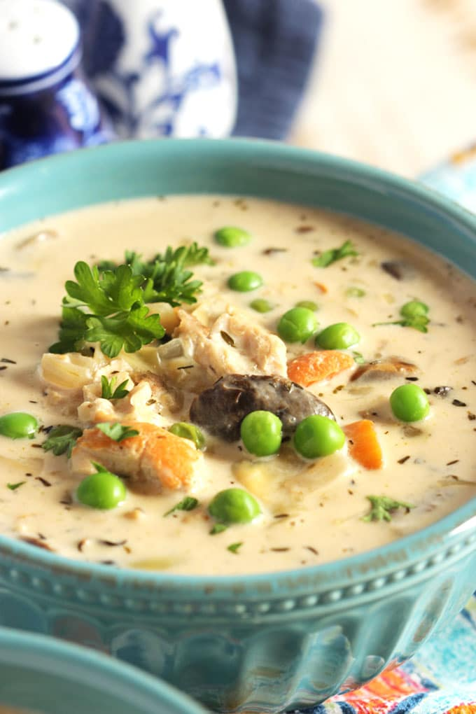 Creamy Chicken Soup with Artichokes and Mushrooms   TheSuburbanSoapbox.com