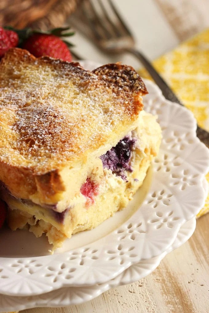 Triple Berry Stuffed French Toast Casserole | TheSuburbanSoapbox.com #IDSimplyPure