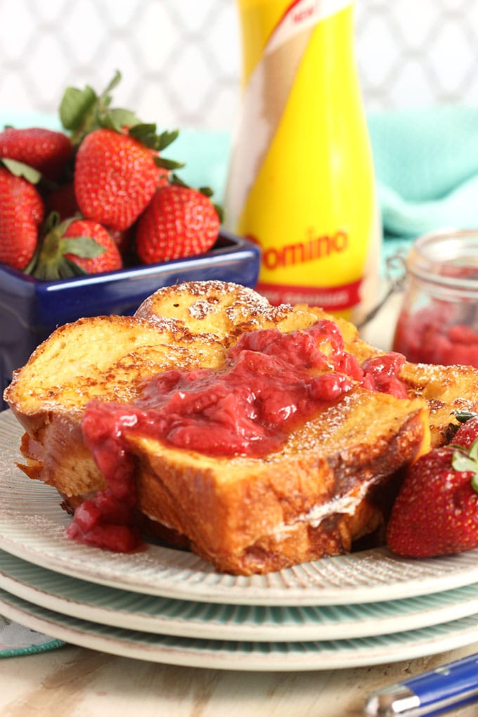 Mascarpone Stuffed Lemon Honey French Toast with Strawberry Compote | TheSuburbanSoapbox.com #CHHoneyGranules
