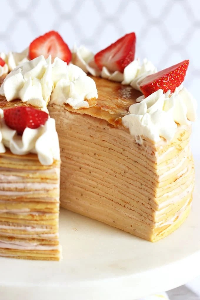 Strawberry Cream Crepe Cake | TheSuburbanSoapbox.com