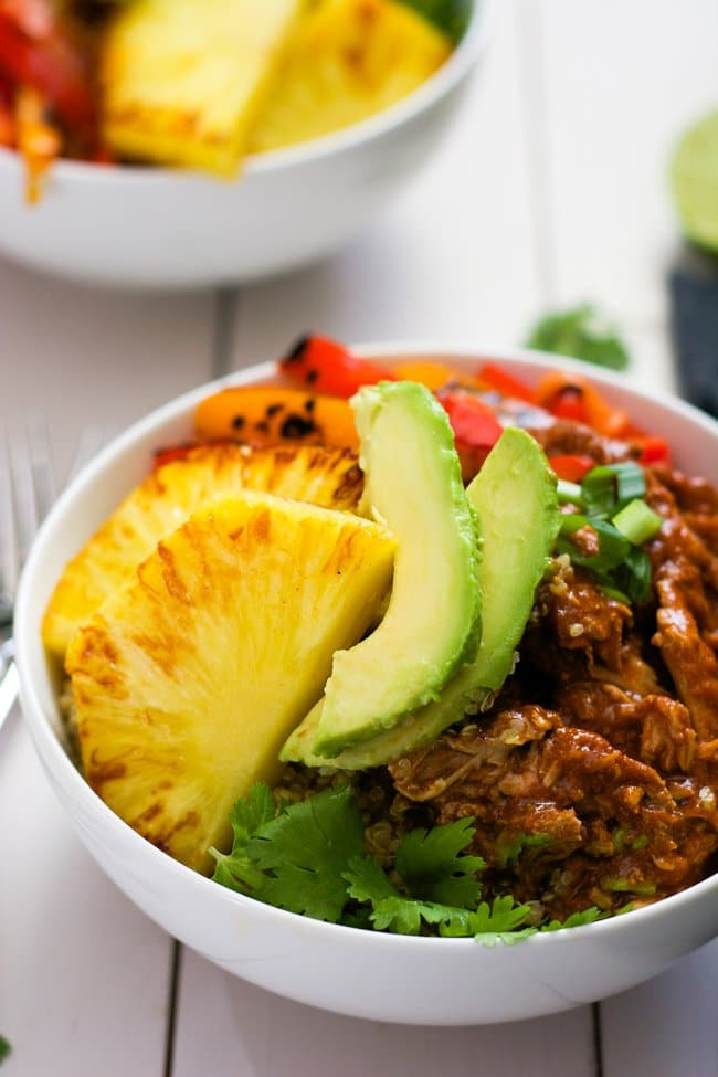 Slow-Cooker-Hawaiian-Pork-Burrito-Bowls-With Salt and Wit