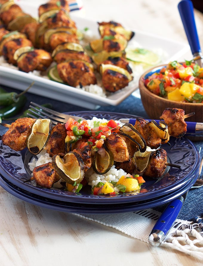 Grilled Chili Lime Chicken Kabobs with Mango Salsa | TheSuburbanSoapbox.com