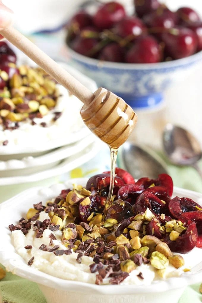 This Cherry Pistachio Ricotta Bowl is an easy, no cook, summer breakfast that's healthy and simple!