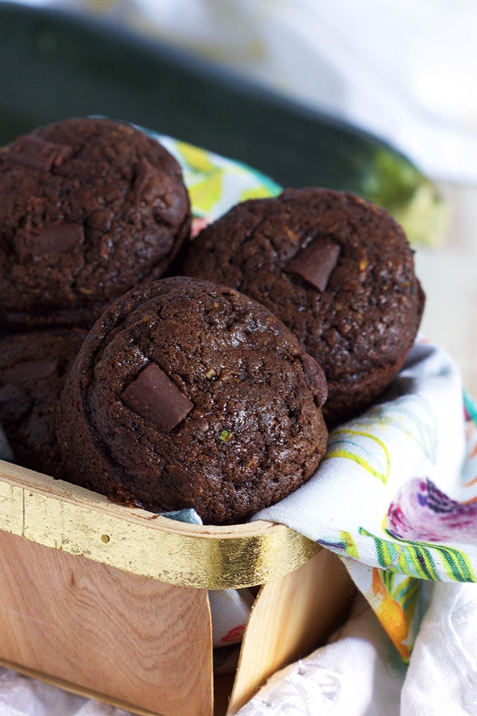 Rich, moist chocolate Double Chocolate Zucchini Muffin recipe is perfect for any occasion from TheSuburbanSoapbox.com.