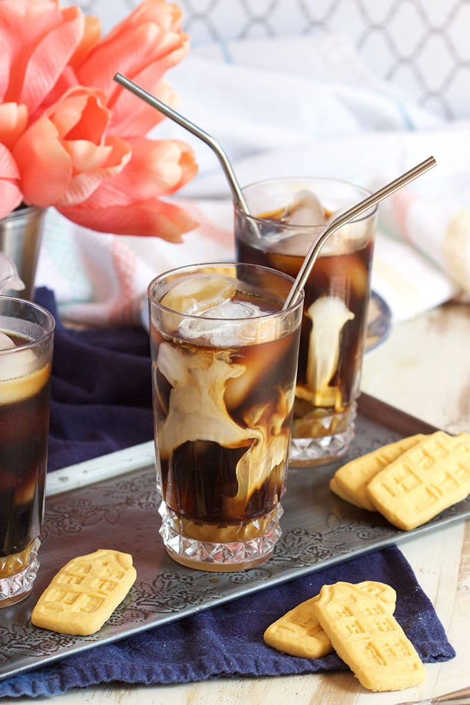 Super easy Starbucks Inspired Iced Coconut Caramel Macchiato recipe is refreshing and cool. TheSuburbanSoapbox.com