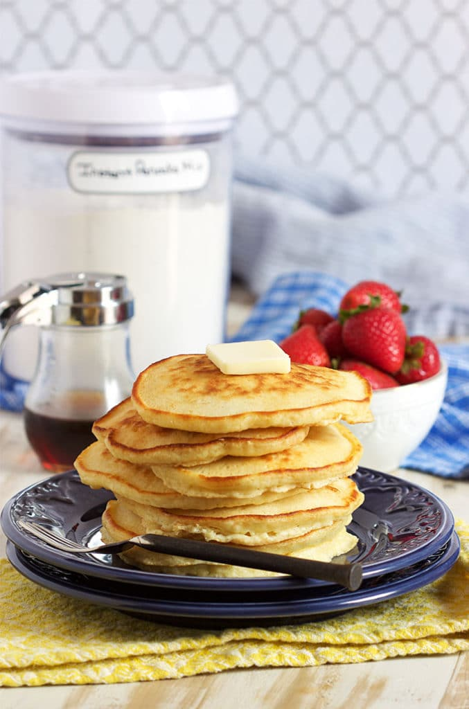 Easy to make Instant Pancake Mix is a pantry makeover staple...recipe from TheSuburbanSoapbox.com.
