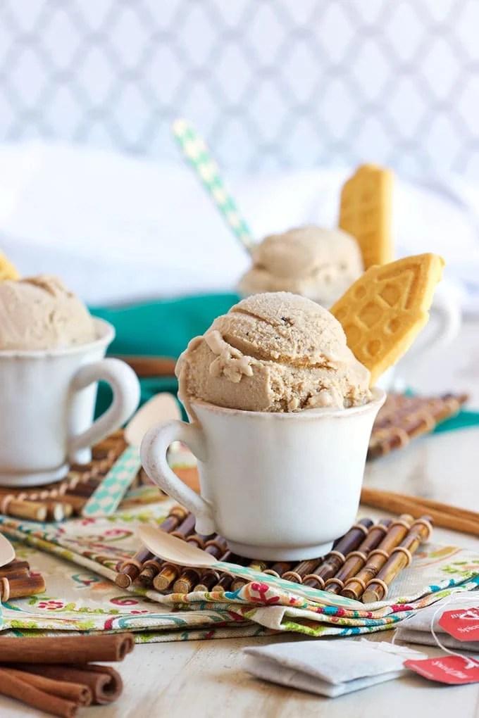 Warm spices flavor this addicting Vanilla Chai Ice Cream recipe for a creamy dream come true from TheSuburbanSoapbox.com.