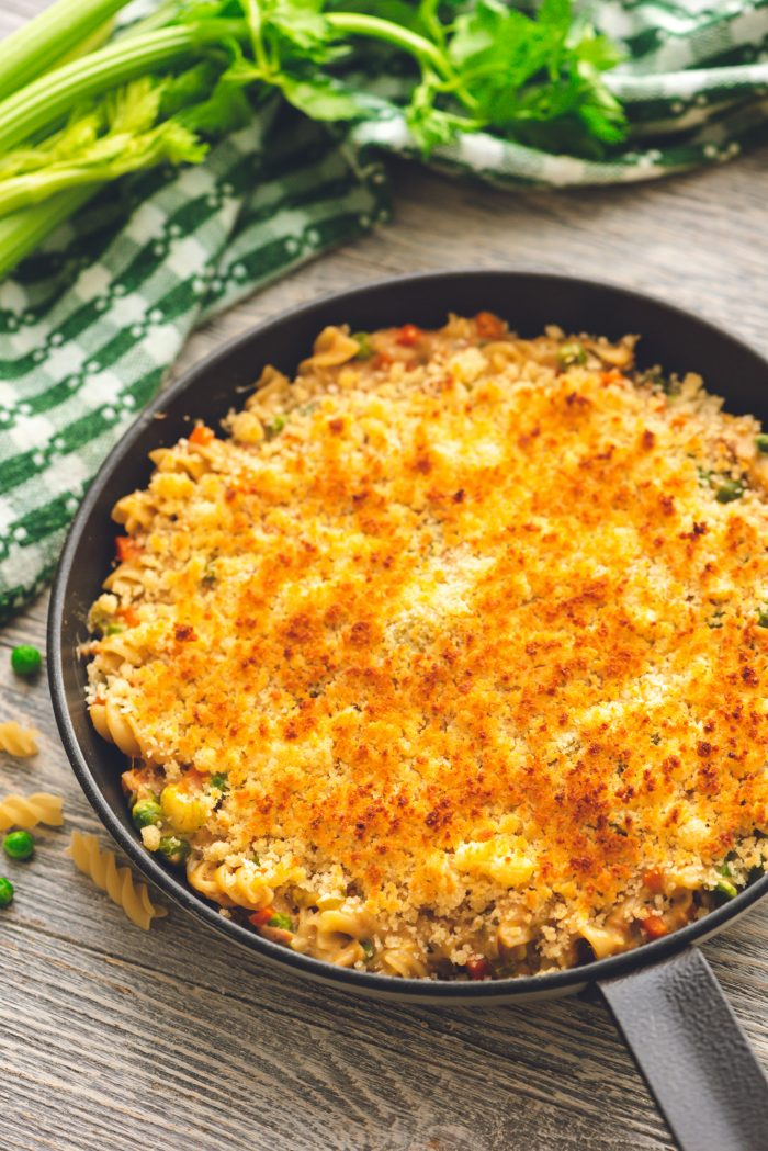 Overhead shot of tuna casserole in a skillet.