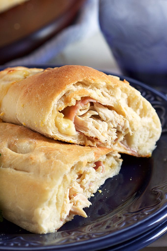 These easy Chicken Cordon Bleu Calzones are ready in minutes and perfect for busy weeknight dinners. TheSuburbanSoapbox.com
