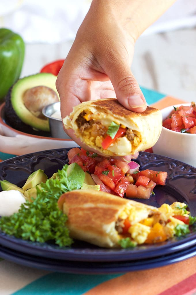 Fast and easy breakfast on the go, Freezer Breakfast Burritos with Chorizo are the best way to start your day from TheSuburbanSoapbox.com