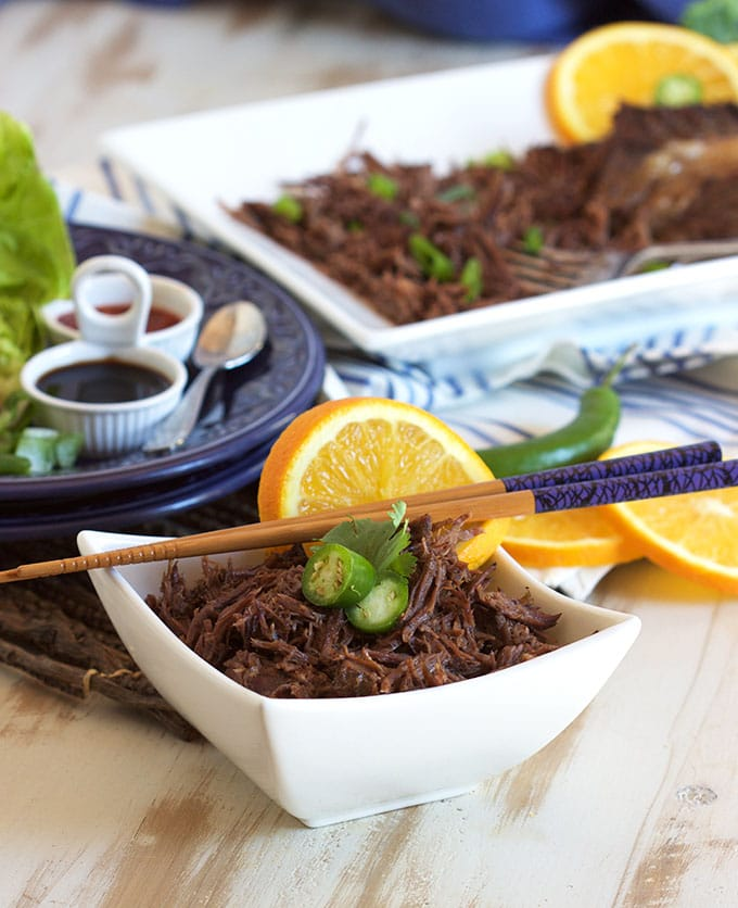 Super easy Slow Cooker Citrus Green Tea Shredded Beef recipe is perfect for simple family suppers. TheSuburbanSoapbox.com #BrightBites #ad