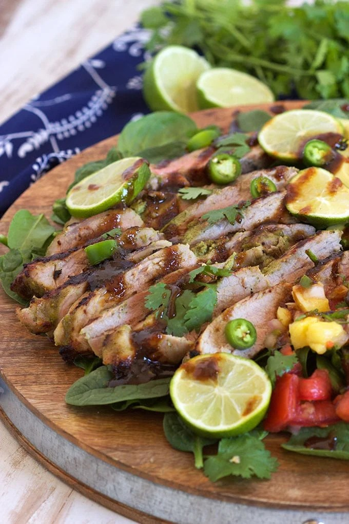 Super easy Jamaican Jerk Pork with Pico de Gallo is simple enough for an easy weeknight dinner. TheSuburbanSoapbox.com