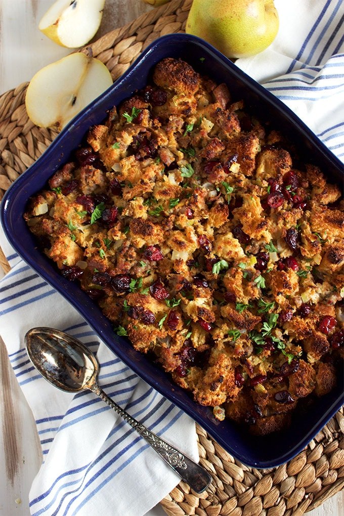 A great make ahead side, Sausage Cranberry Brioche Stuffing is easy and epically amazing! | TheSuburbanSoapbox.com
