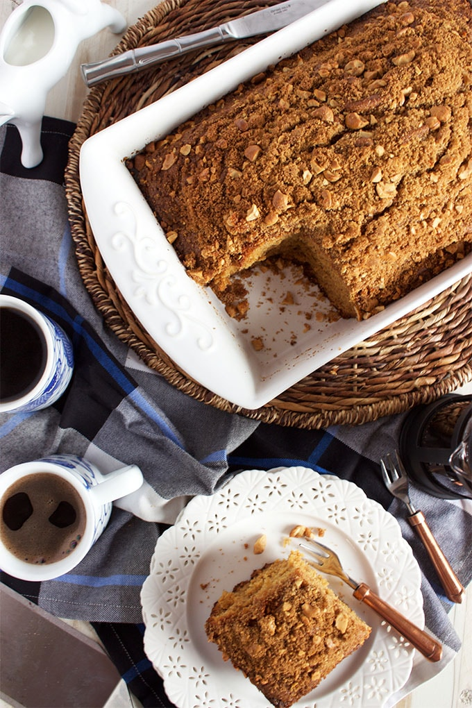This simple Gingerbread Coffee Cake recipe is festive and comforting. | TheSuburbanSoapbox.com