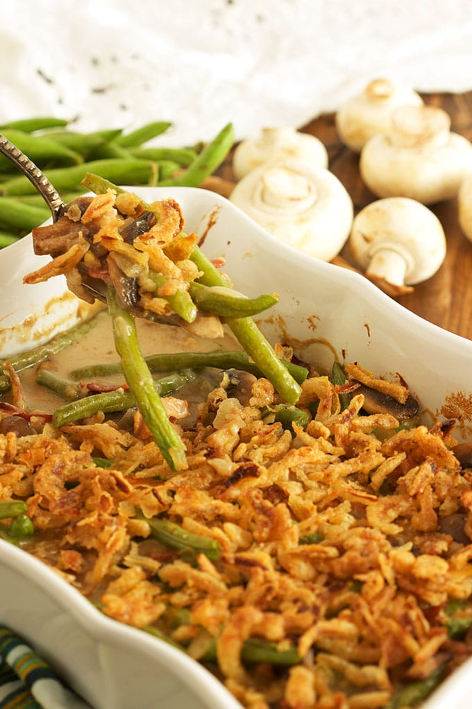 This easy Green Bean Casserole is the best recipe ever made from scratch! | TheSuburbanSoapbox.com