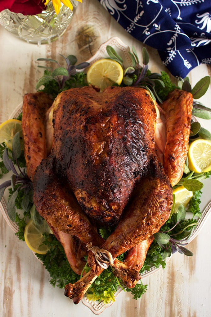 The easiest and BEST Roasted Turkey ever, this Sage Pesto Turkey is made with just two ingredients!   TheSuburbanSoapbox.com