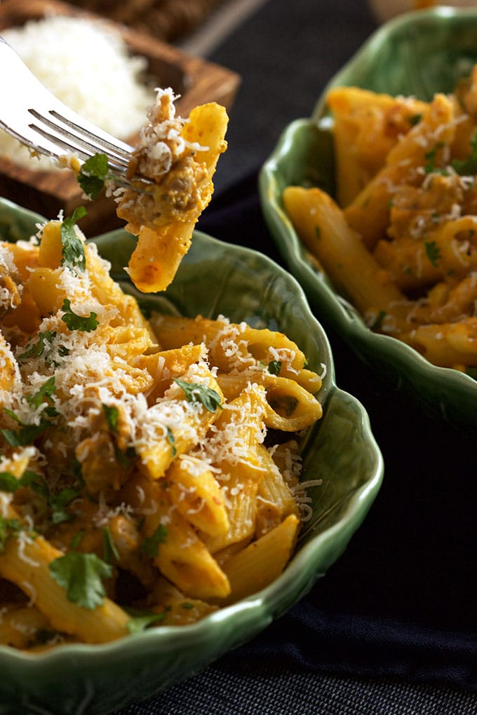 Rich, cream, quick and easy Pumpkin Pasta with Sausage and Sage is the perfect family dinner. TheSuburbanSoapbox.com