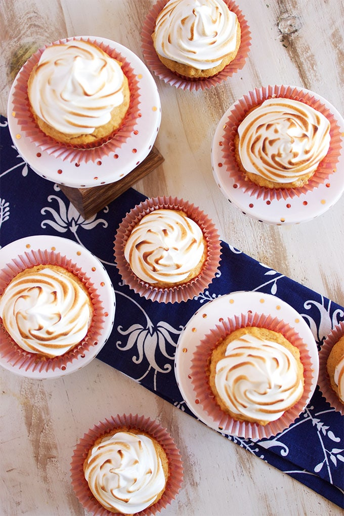 The BEST festive dessert, these easy to make Sweet Potato Cupcakes with Marshmallow Meringue are sweet, tender and addicting. | TheSuburbanSoapbox.com