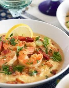 Super easy and ready in minutes, this Cheesy Shrimp and Grits recipe is the BEST ever! | TheSuburbanSoapbox.com