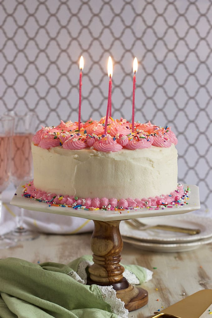 Super easy Pink Champagne Cake Recipe with Pink Champagne Buttercream is perfect for any occasion...completely from scratch! | TheSuburbanSoapbox.com
