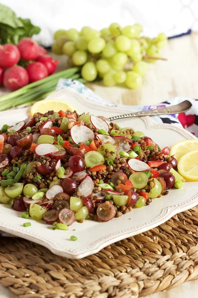 This easy Italian Lentil Salad with Grapes is fast, easy and fresh!  The BEST side dish salad you'll ever make. | TheSuburbanSoapbox.com