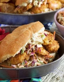 Simple to make Cornmeal Crusted Shrimp Po'Boy Sandwiches are packed with flavor and ready in minutes. | TheSuburbanSoapbox.com