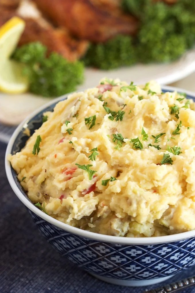 Easy, two ingredient Pimento Cheese Mashed Potato recipe is the side dish of your dreams. | TheSuburbanSoapbox.com