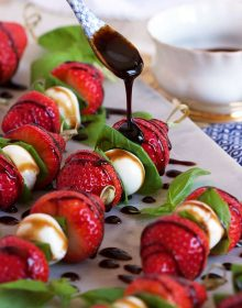 Ready in minutes, Strawberry Caprese Salad Skewers are the perfect party appetizer recipe for spring and summer. | TheSuburbanSoapbox.com