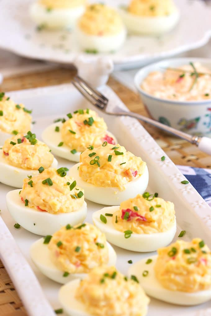 Easy to make Pimento Cheese Deviled Eggs recipe is the perfect addition to any spring or summer party menu. | TheSuburbanSoapbox.com