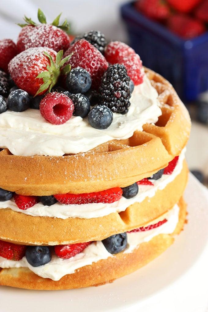 Berry Vanilla Bean Belgian Waffle Cake Video The